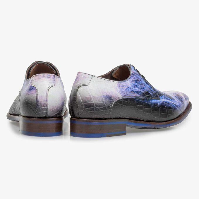 Premium purple calf leather lace shoe with lightning bolt print
