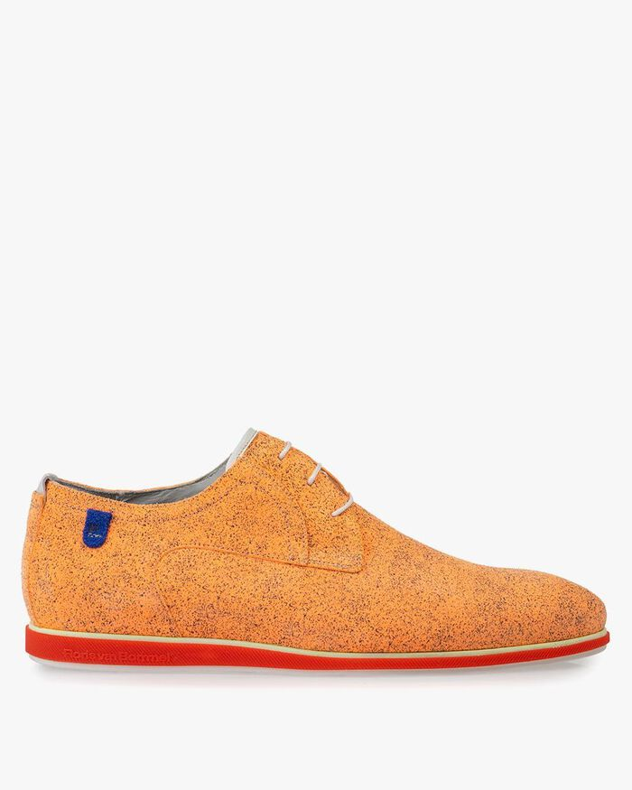 Lace shoe suede leather orange