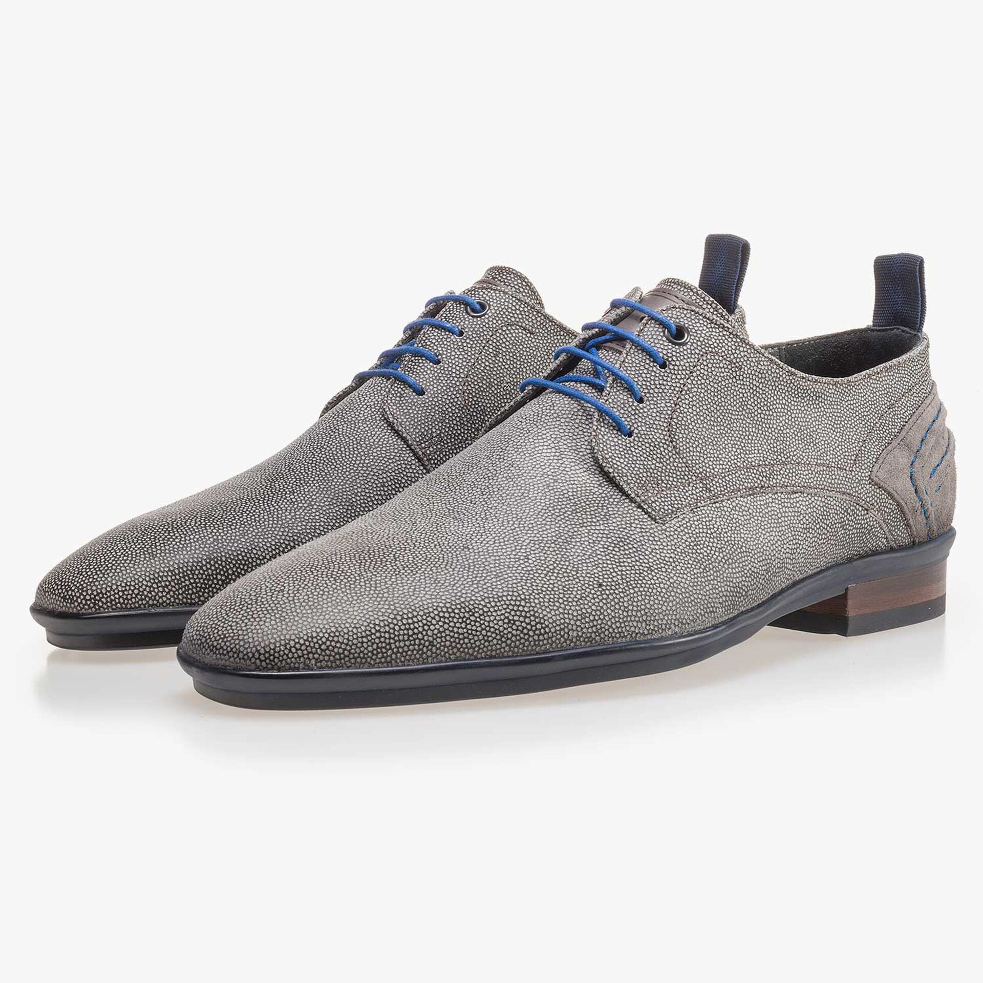 Grey, suede leather lace shoe with pattern