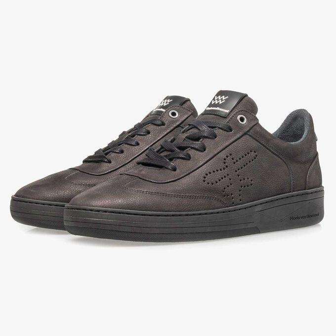 Premium black printed nubuck leather sneaker