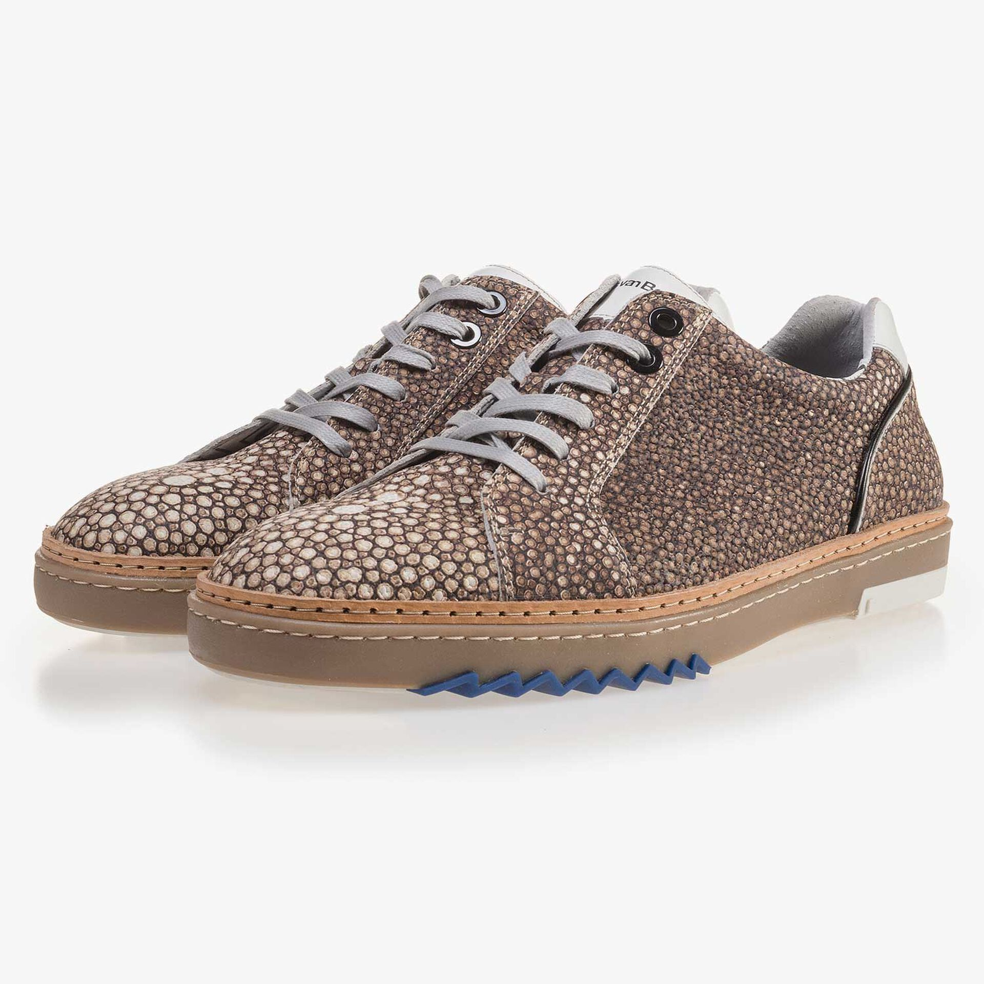 Brown, patterned leather sneaker