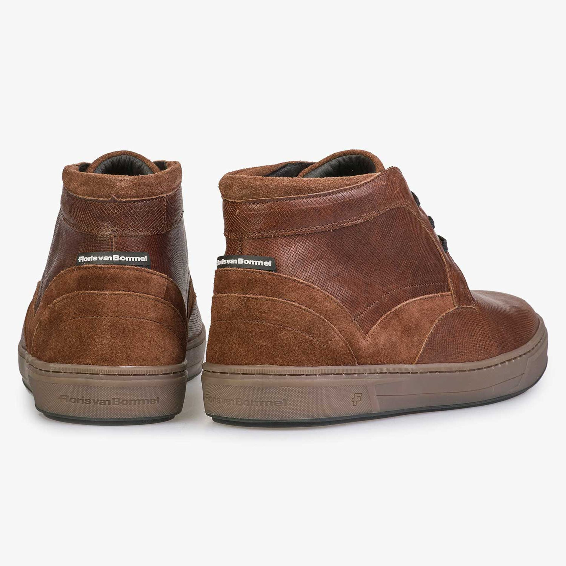 Mid-high, wool lined cognac-coloured lace shoe