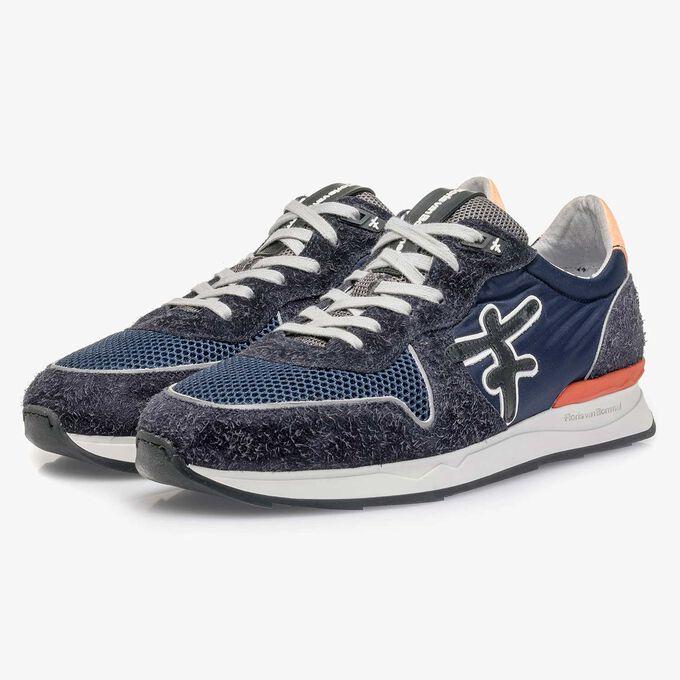 Dark blue-orange suede leather sneaker