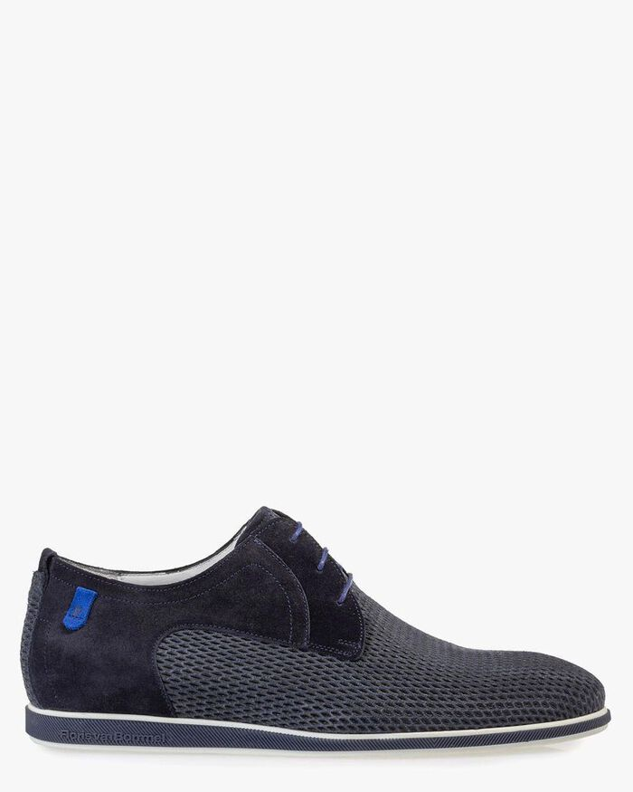 Lace shoe printed suede leather blue