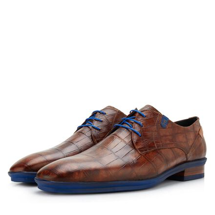 Floris van Bommel crocodile print men's lace-up shoe