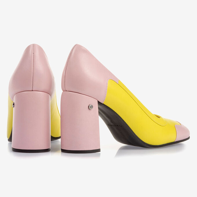 Yellow and pink nappa leather pumps