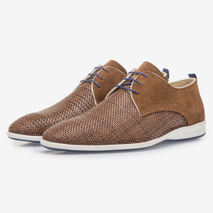 Brown braided leather lace shoe