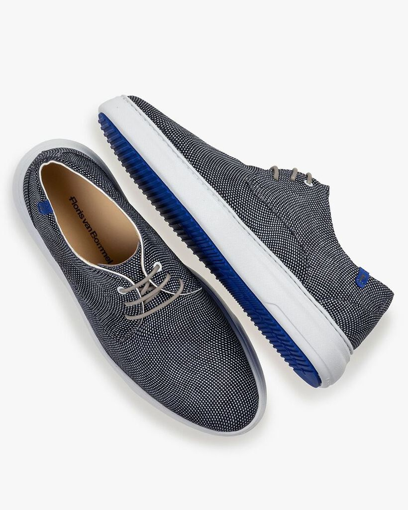 Sneaker geprint suède blauw