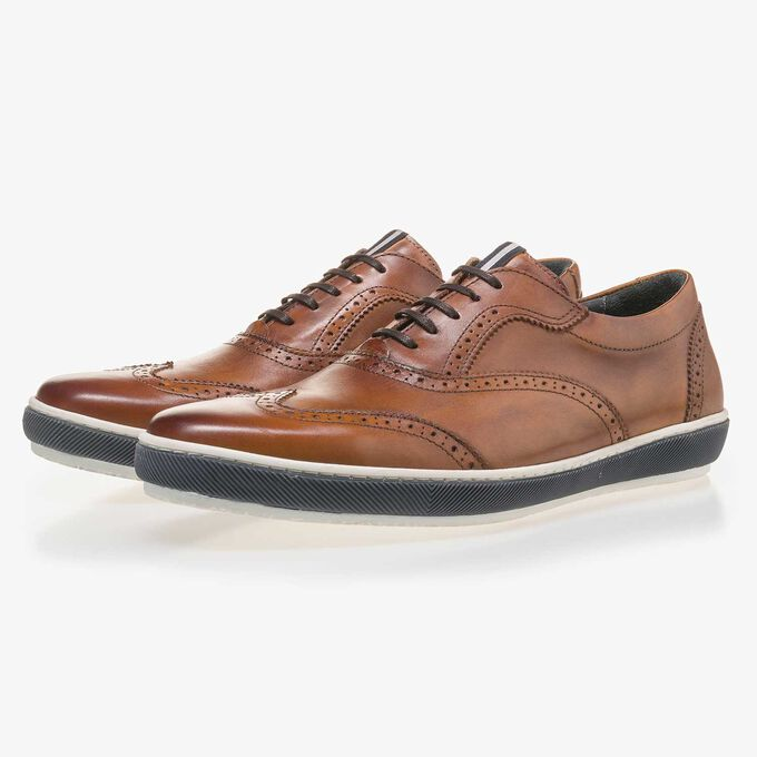 Cognac-coloured calf leather brogue shoe