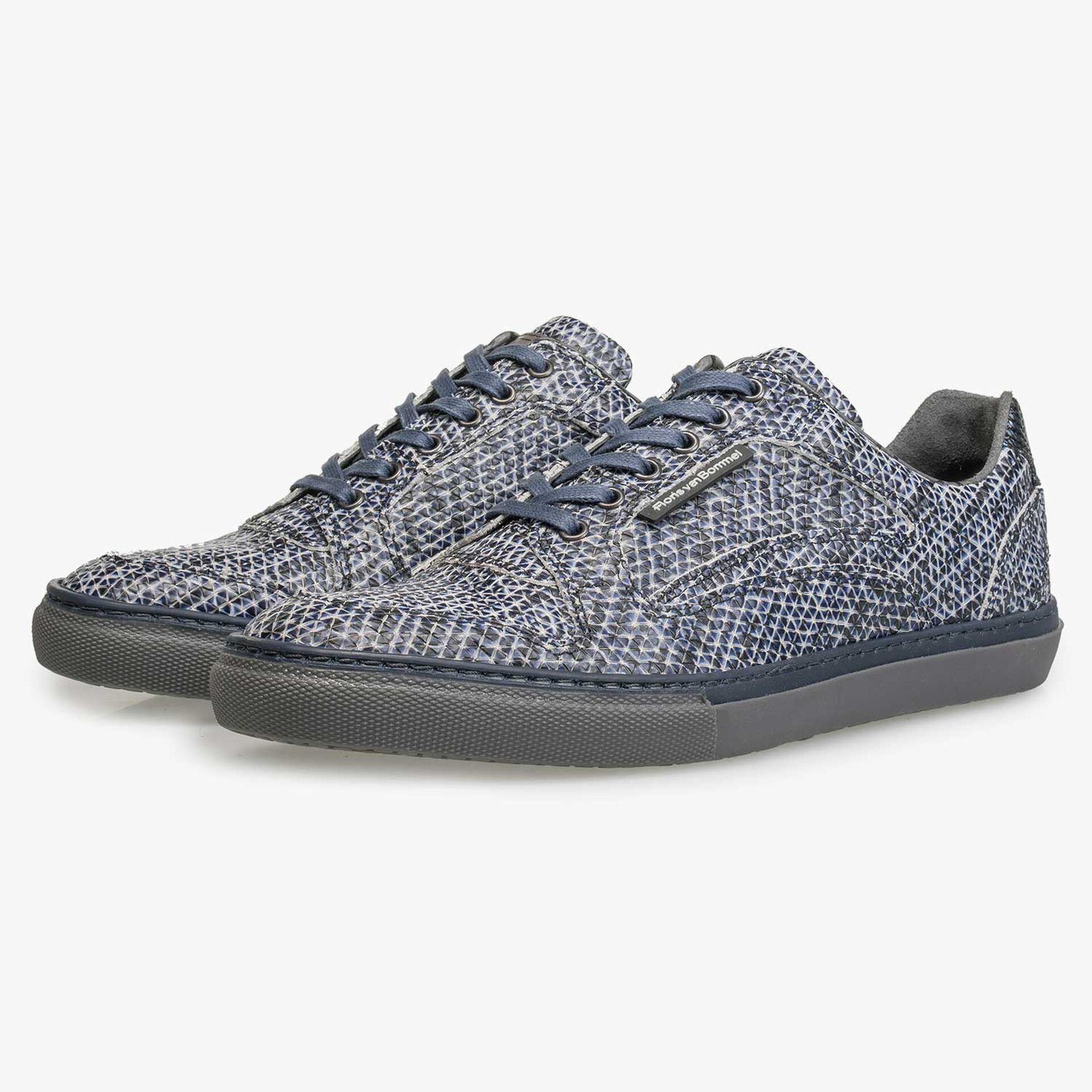 Blue patterned calf's leather sneaker
