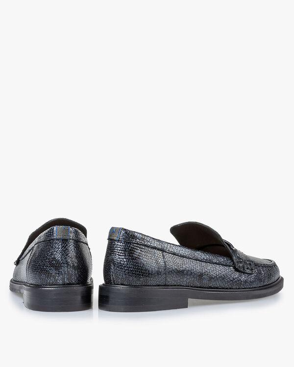 Loafer metallic print blauw