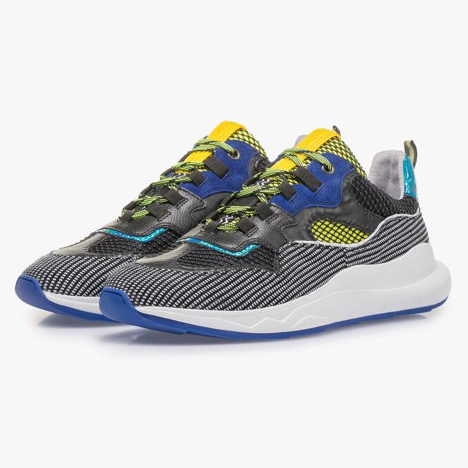Premium suède sneaker blauw/geel