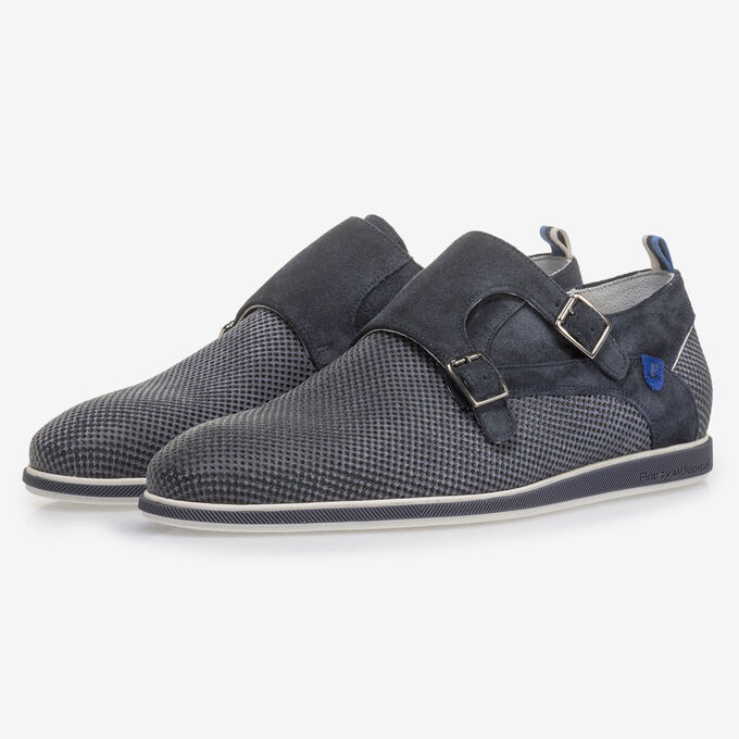 Dark blue suede leather monk strap with print