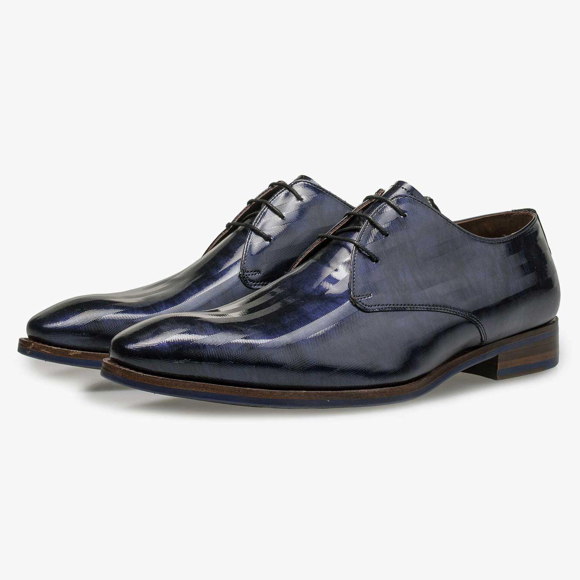 Blue Premium patent leather lace shoe