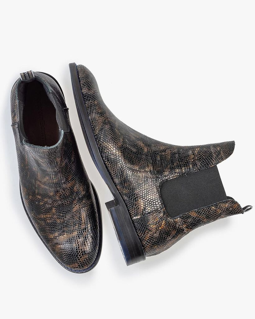 Chelsea boot crocoprint koper