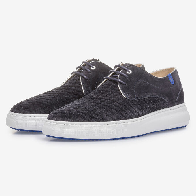 Lace-up shoe with braided suede leather