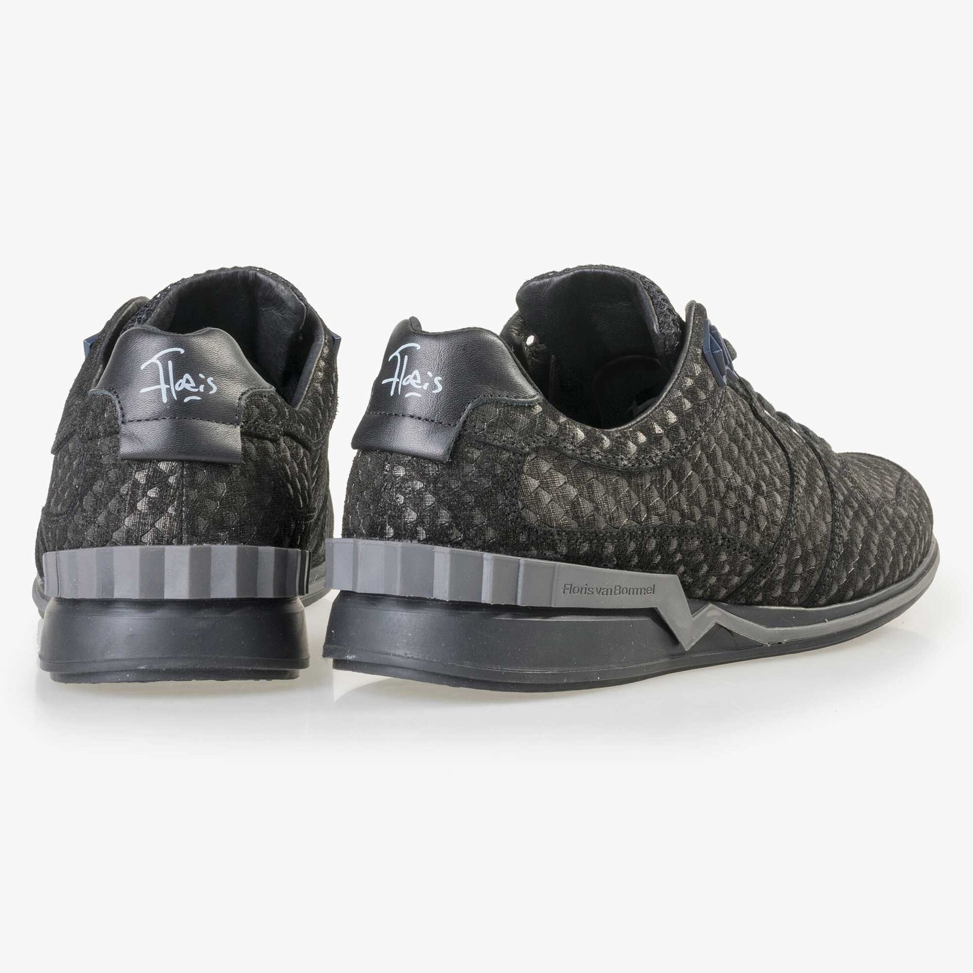 Floris van Bommel grijze suède snakeprint sneaker