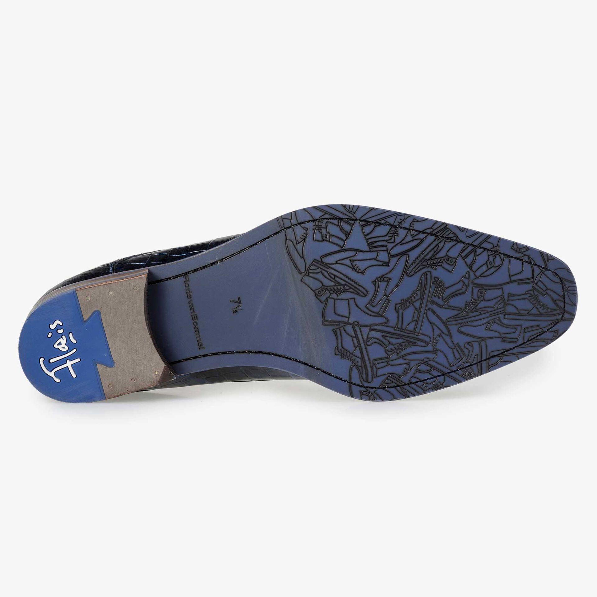 Floris van Bommel Premium blauwe leren heren veterschoen met een metal look