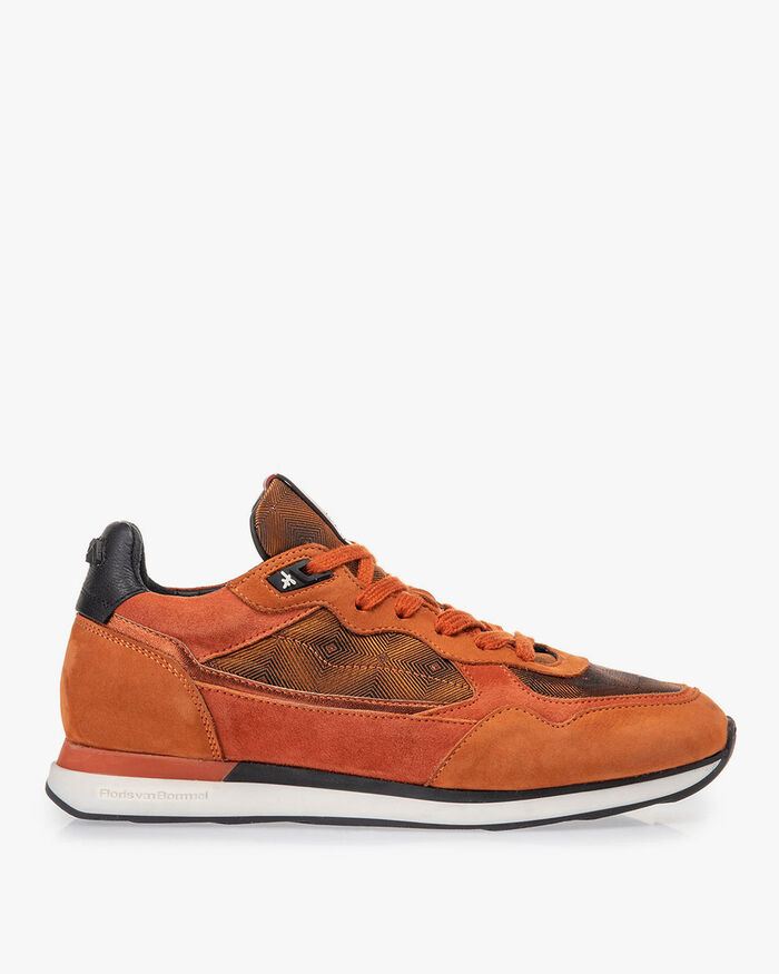 Sneaker nubuckleer roest