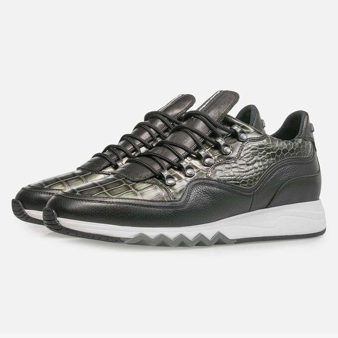 Premium green printed metallic leather sneaker