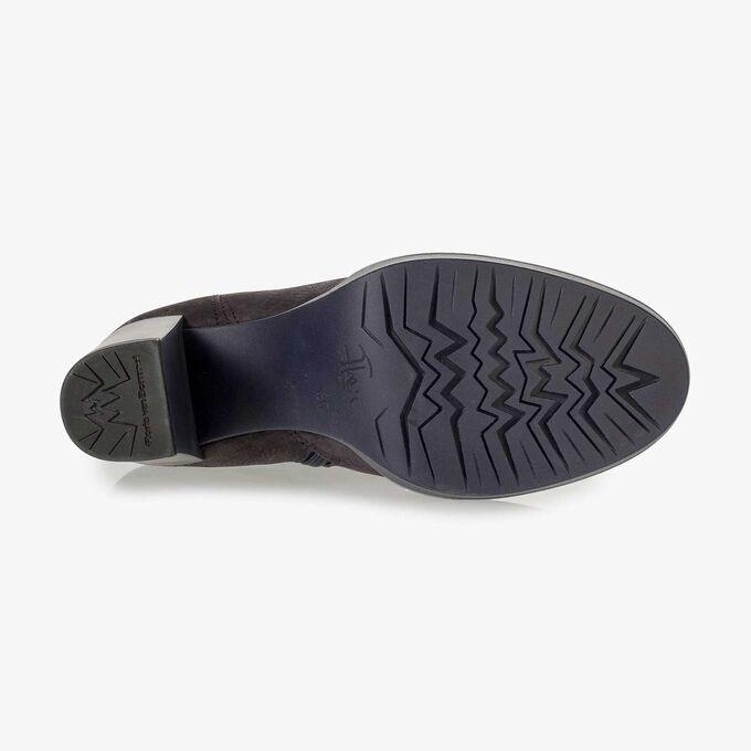 Donkerblauwe nubuckleren enkellaars met snakeprint