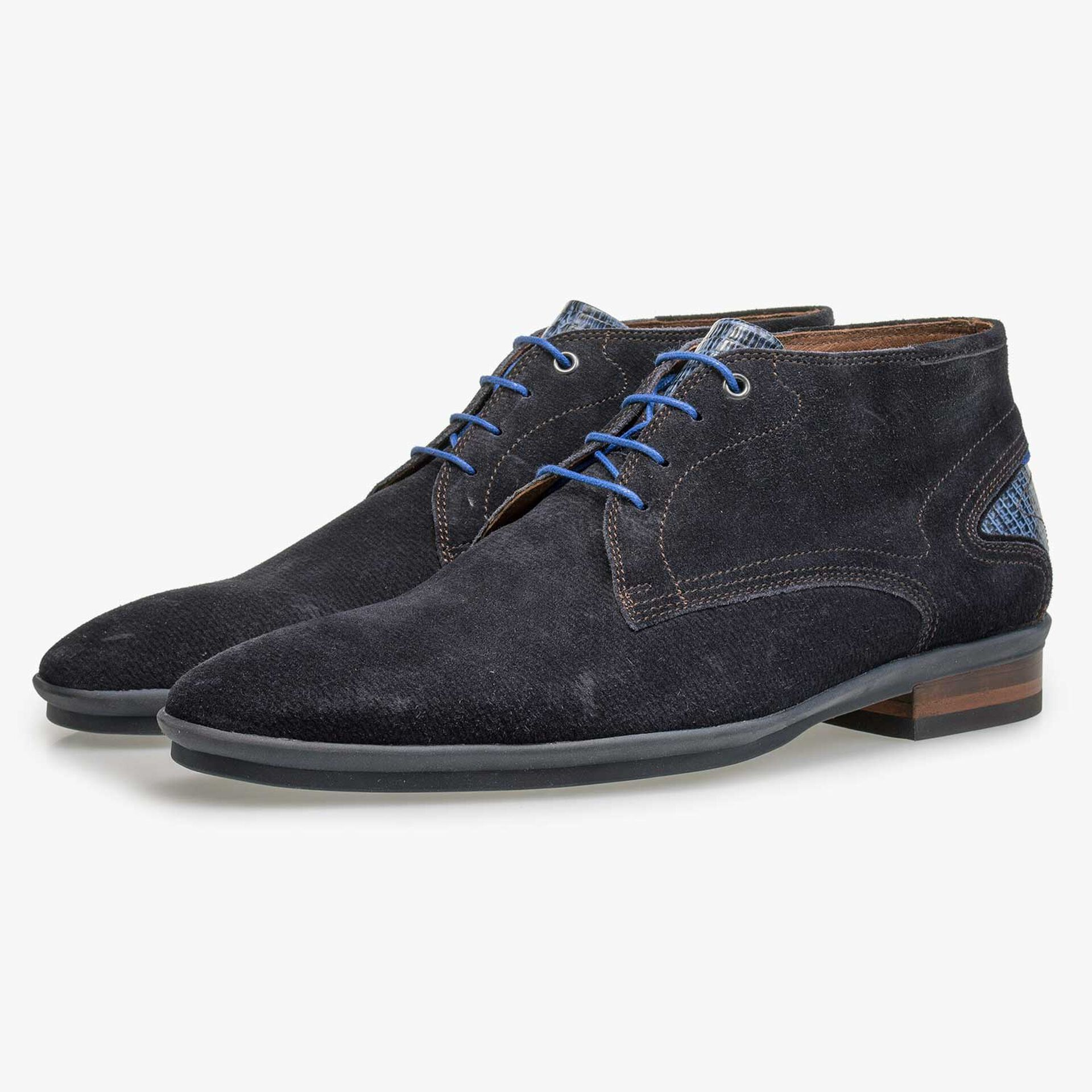 Blue patterned calf suede leather lace boot