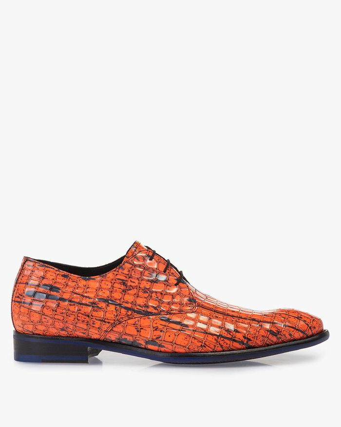 Lace shoe patent leather orange
