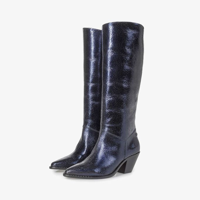 Dark blue leather high boots with metallic print