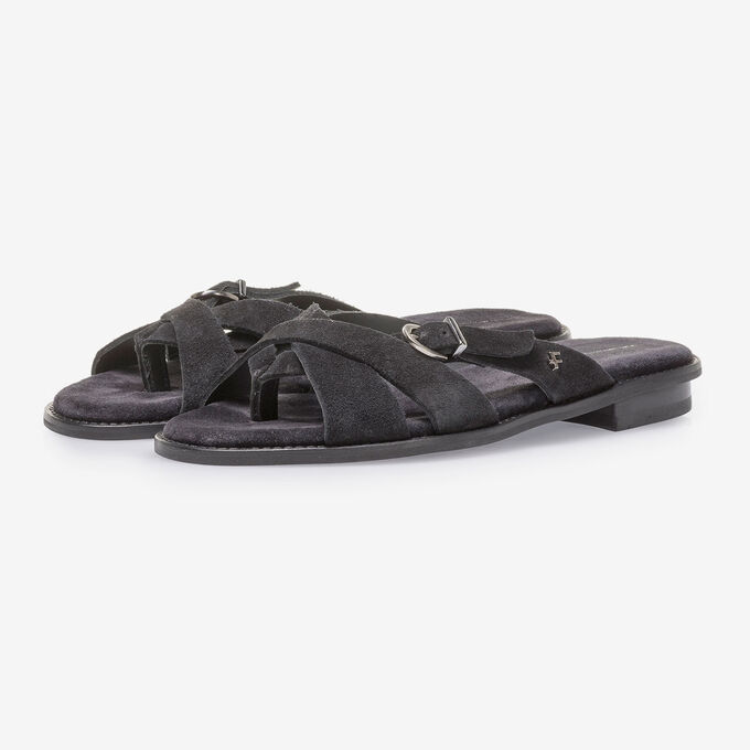 Black suede leather slipper