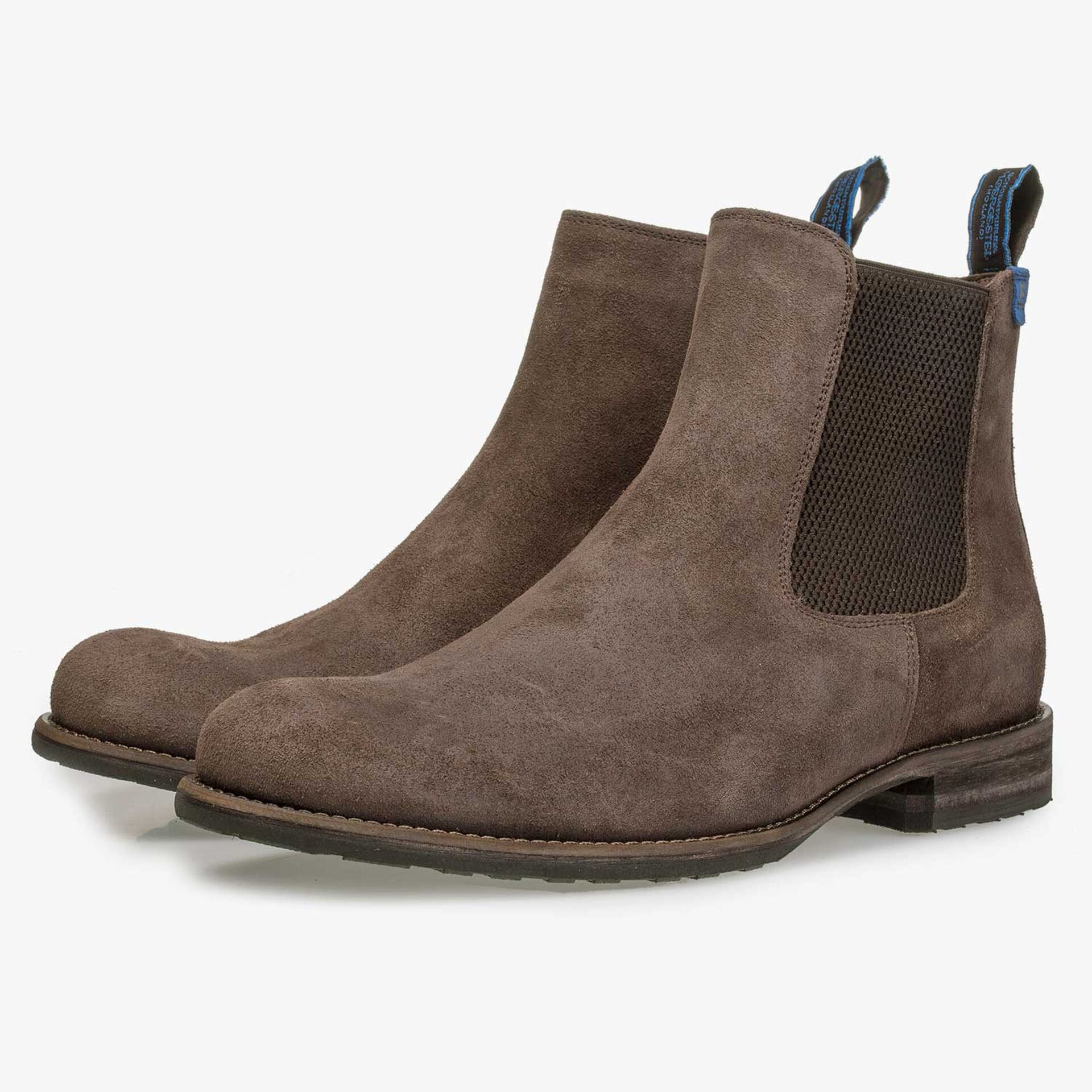 Lined brown suede leather Chelsea boot