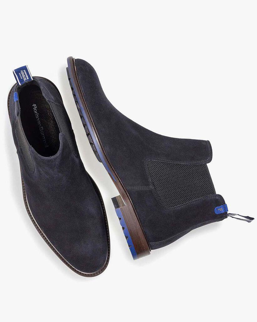 Donkerblauwe kalfssuède chelsea boot