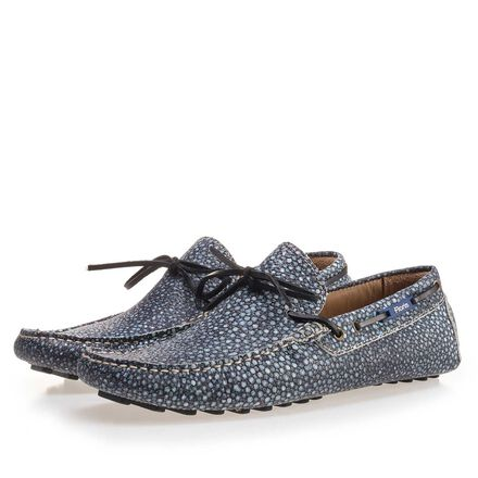 Leather moccasin with print