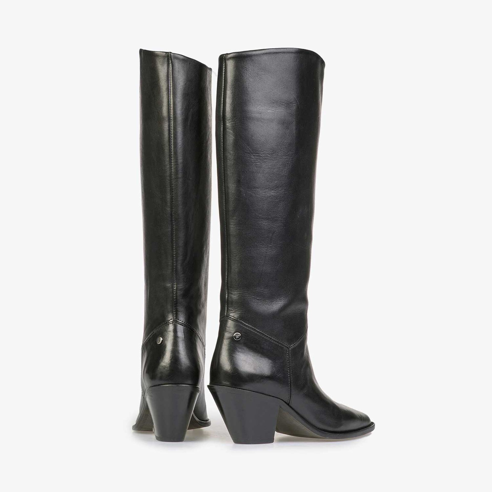 High black calf leather western boot