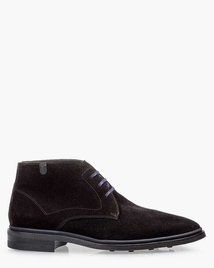 Lace boot suede black