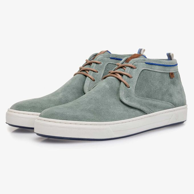 Pale green washed suede leather lace shoe