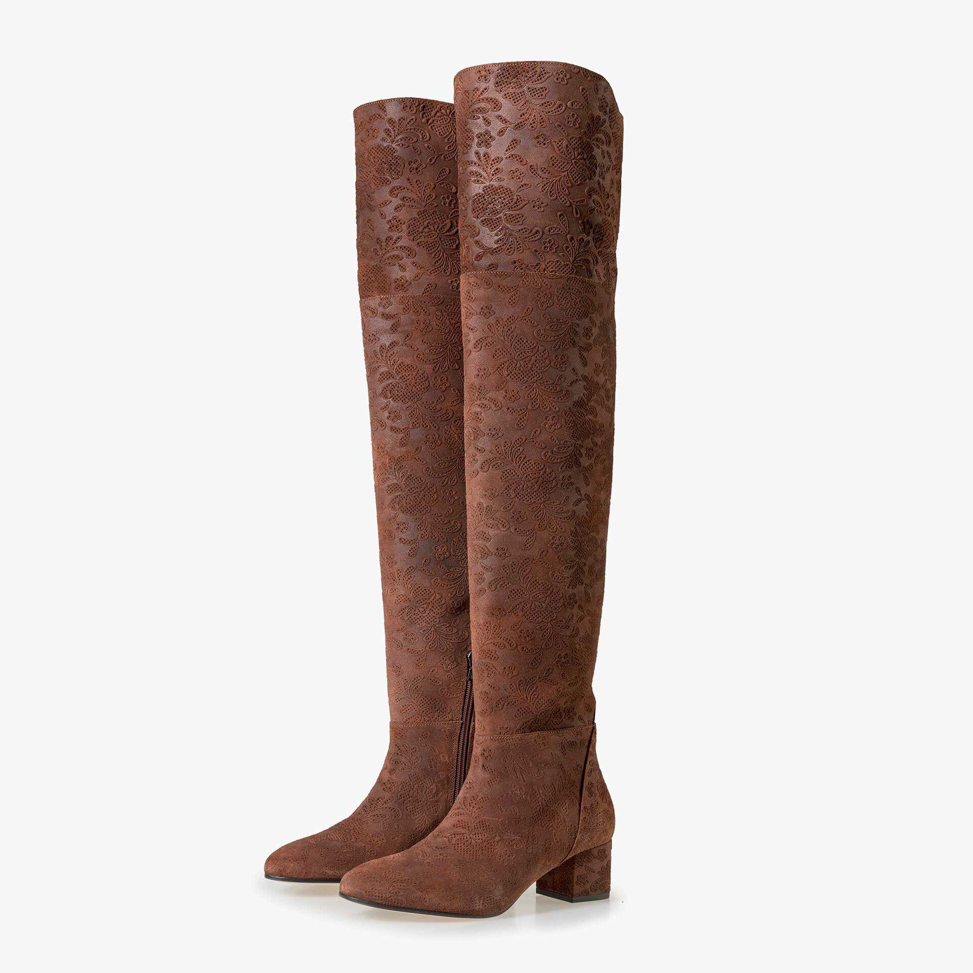 Floris van Bommel women's rust brown suede leather over knee boots