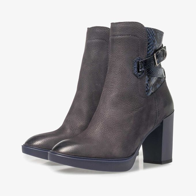 Dark blue nubuck leather ankle boots with snake print