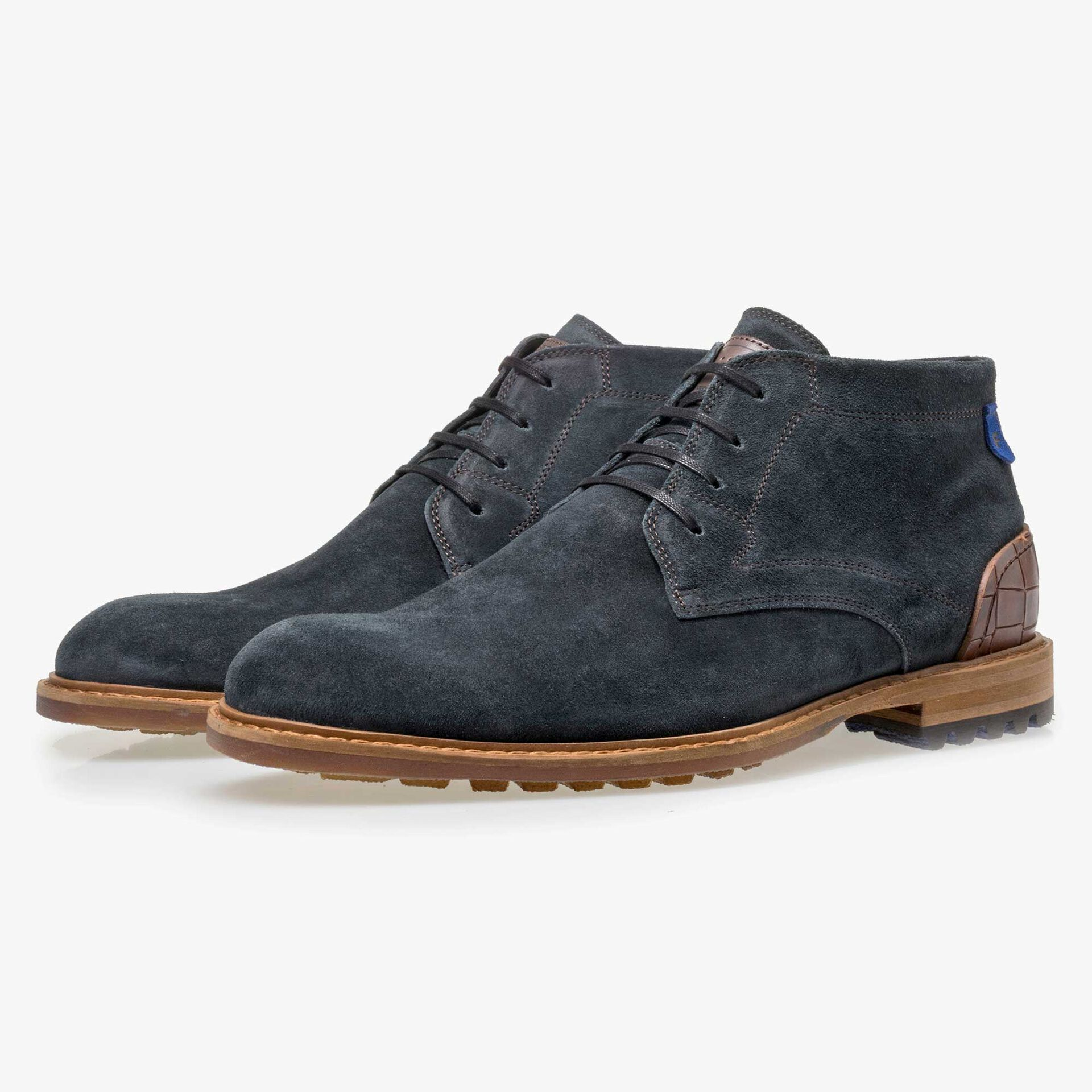 Floris van Bommel men's blue suede leather lace boot