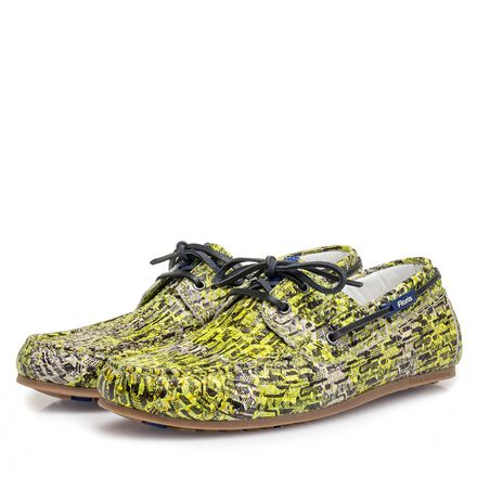 Snake print calf leather sailing shoe