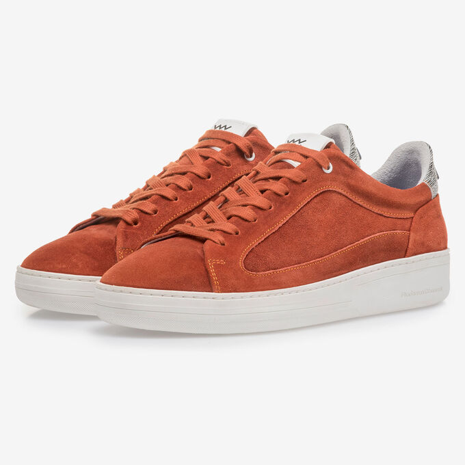 Orange and red suede leather sneaker