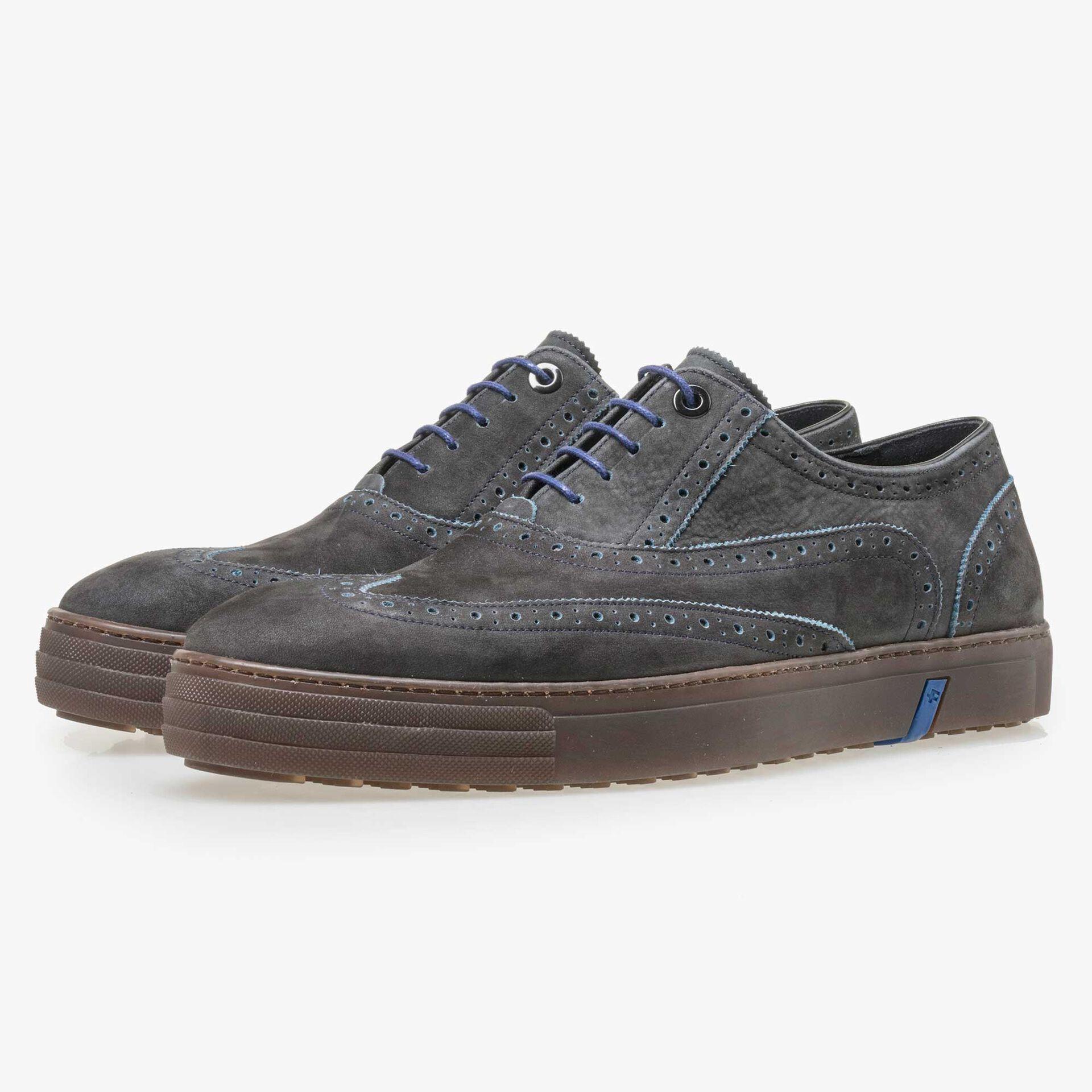 Floris van Bommel blauwe nubuckleren heren brogue sneaker