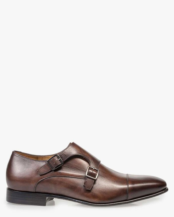 Brown calf leather monk strap