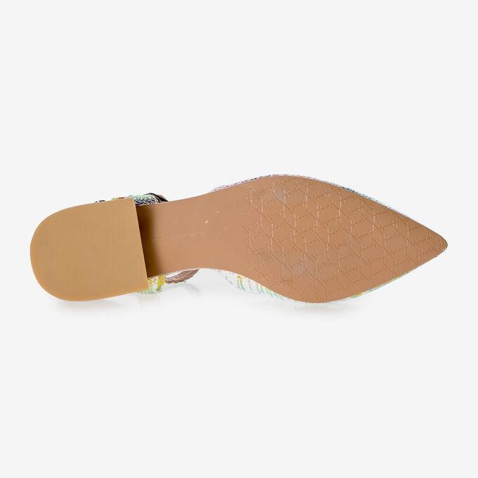 Leren sandaal met groen/gouden metallicprint