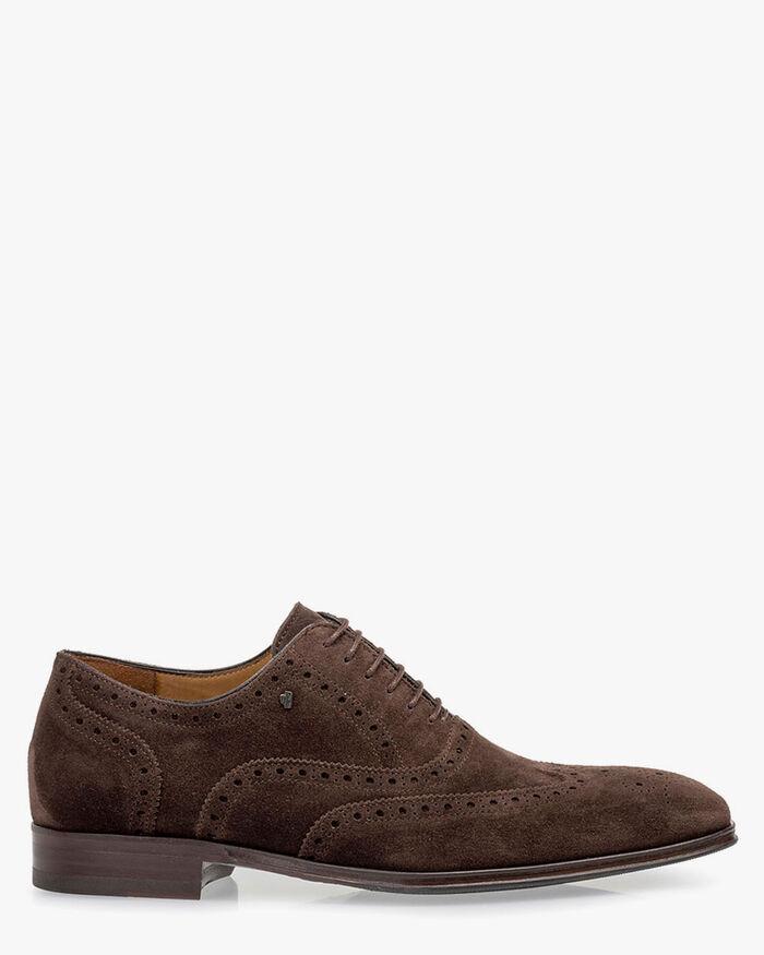 Lace shoe suede dark brown