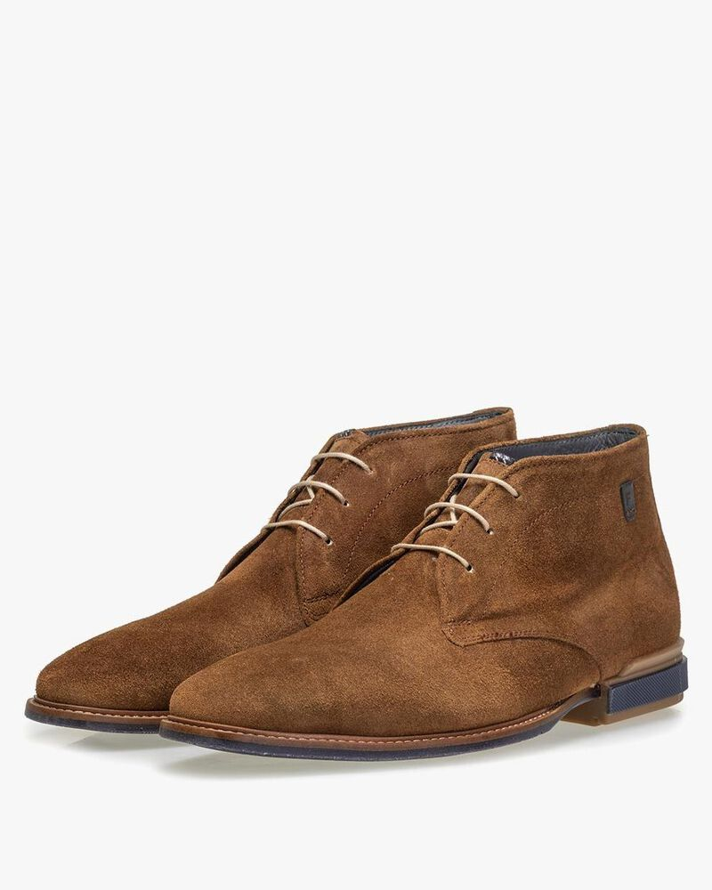 Boot suede leather cognac