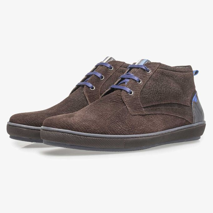 Dark brown printed suede leather lace shoe