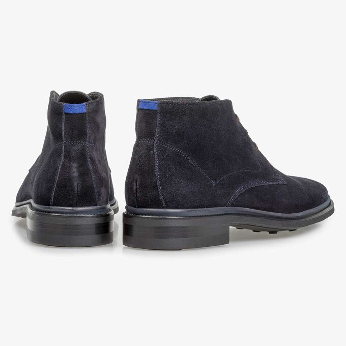 Dark blue suede lace boot