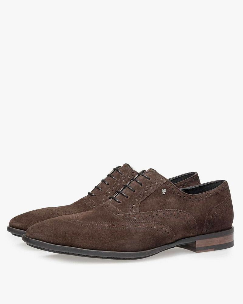 Brown calf suede leather brogue