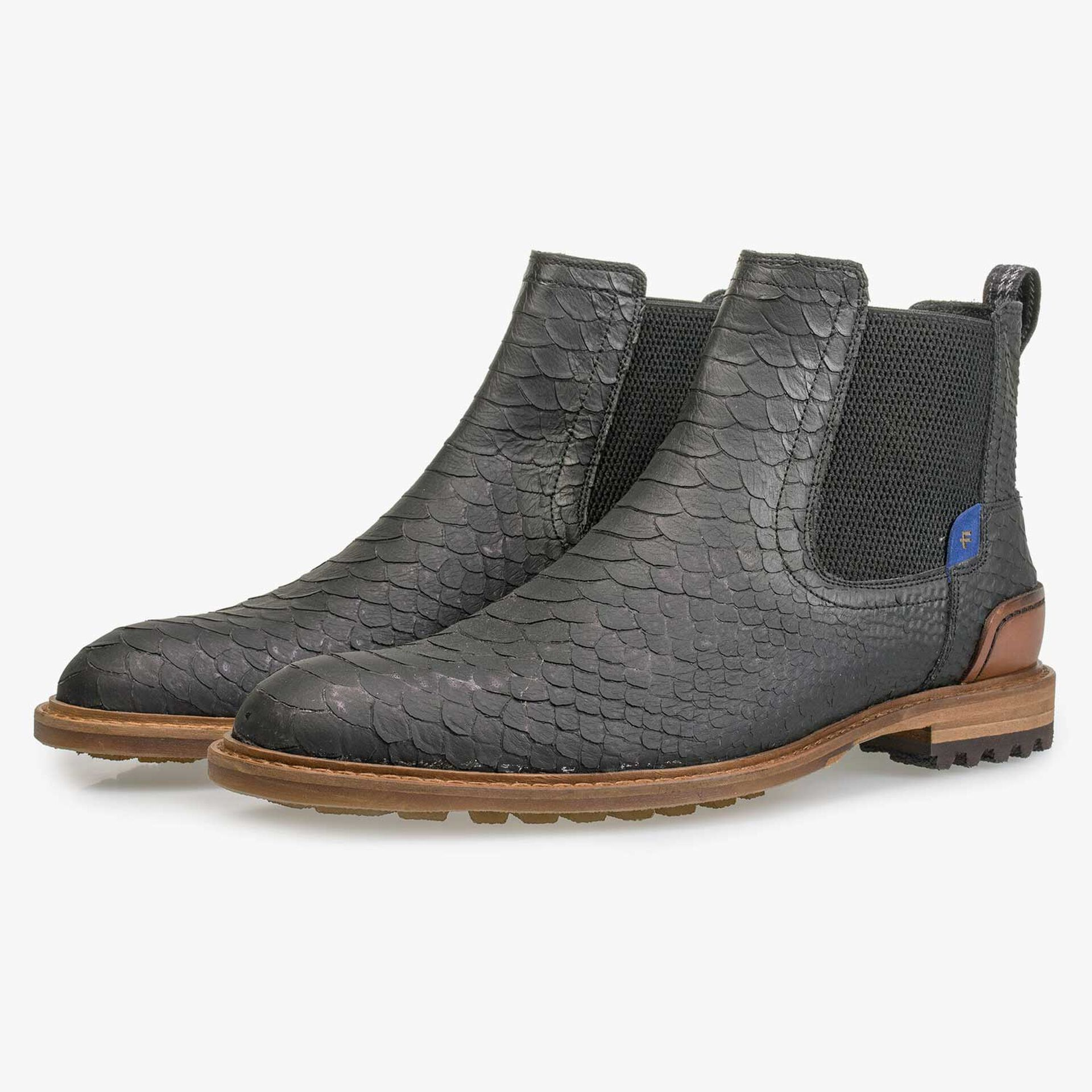 Grey leather Chelsea boot with snake print