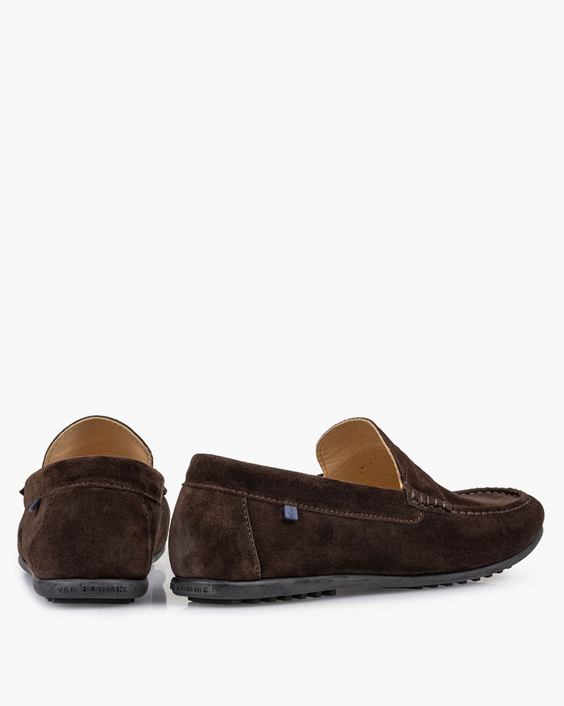 Moccasin suède donkerbruin
